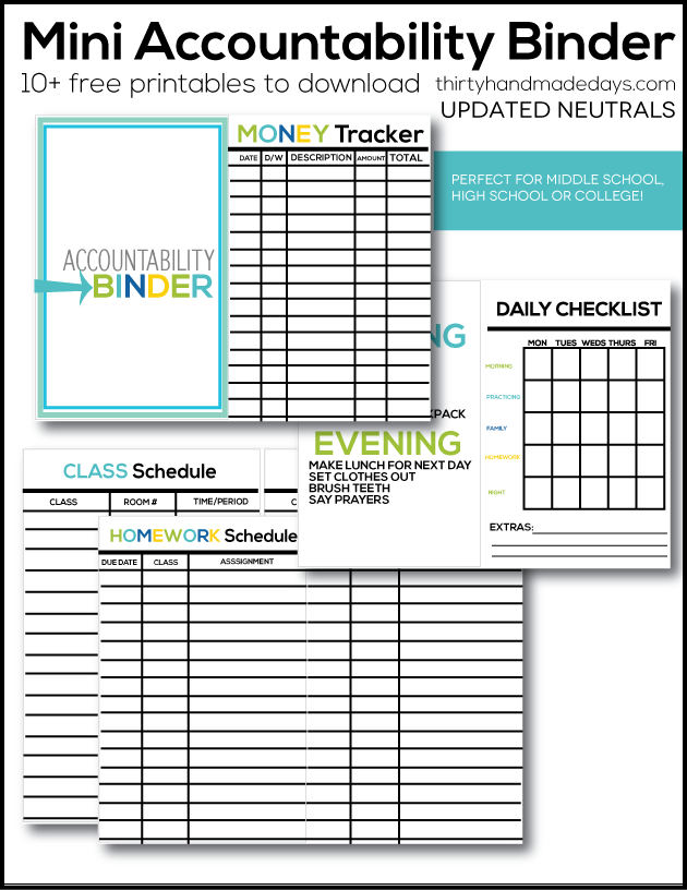 Mini Accountability Binder neutral colors - perfect for middle school, college students and older kids to help be accountable!