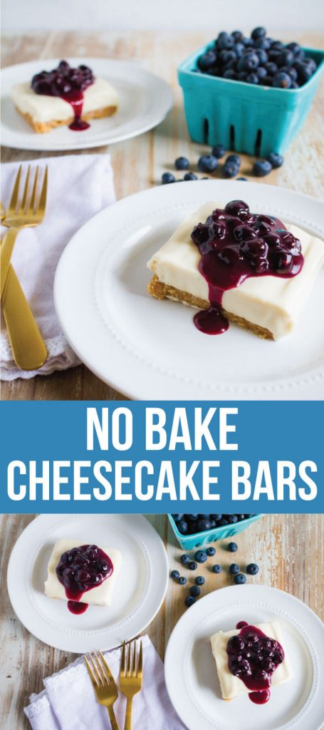 No Bake Cheesecake Bars with Fresh Blueberry Sauce - a delicious, must try, easy dessert. thirtyhandmadedays.com