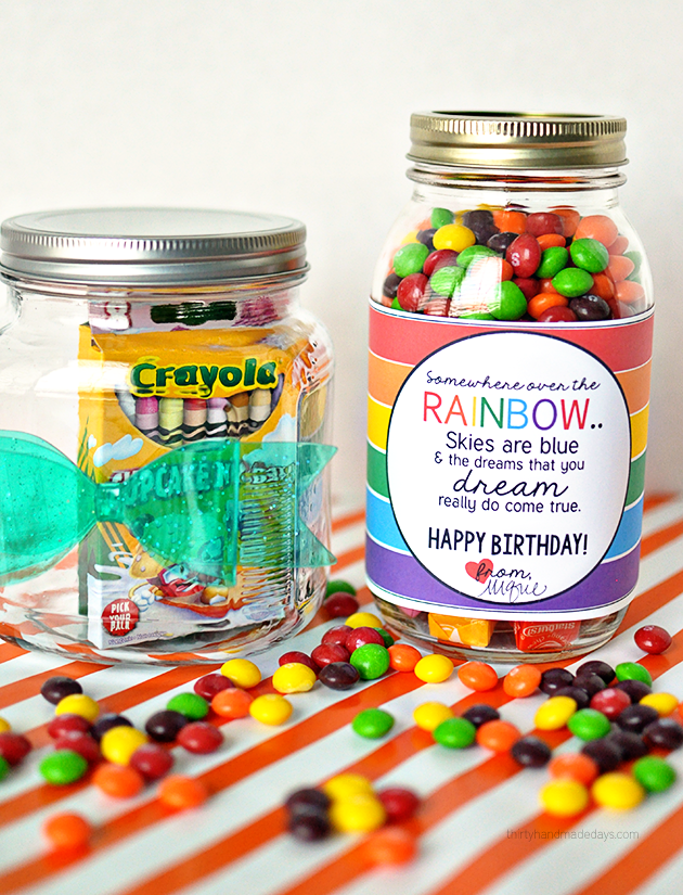 Rainbow inspired birthday gift and printable cute gift idea printable rainbow birthday tag negle Images