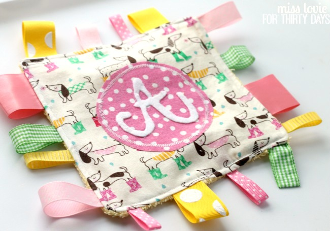 Monogram Crinkle Taggie Baby Toy - Thirty Handmade Days
