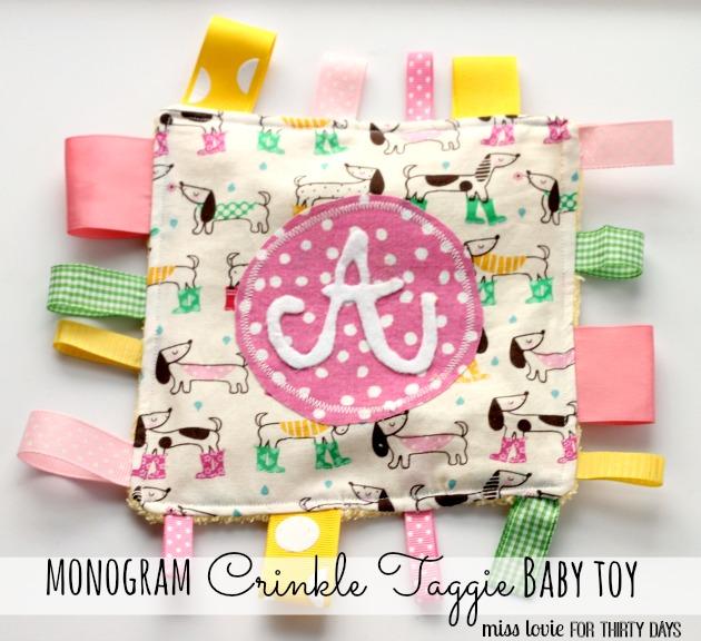 Monogram Crinkle Taggie Baby Toy