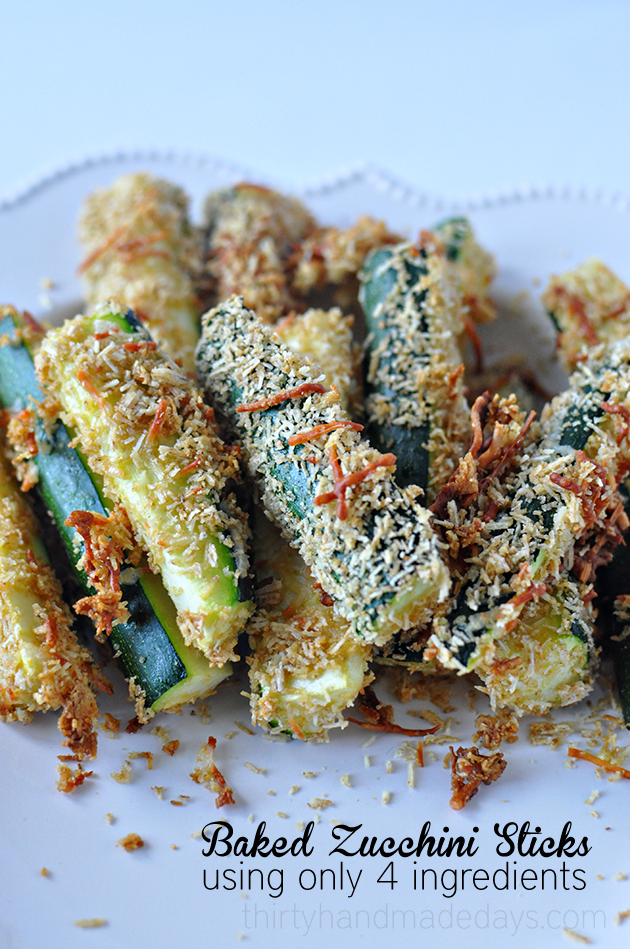 Baked Zucchini Sticks - a healthy take on a delicious side dish or appetizer.   | Thirty Handmade Days