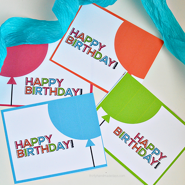 Printable Birthday Cards From Thirty Handmade Days