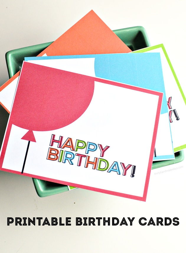 Simple Birthday Cards Printable ~ Printable birthday cards from thirty handmade days