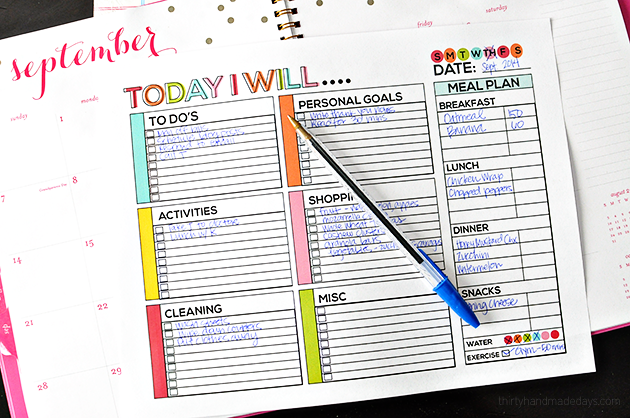Free Printable Daily To Do Checklist from Thirty Handmade Days