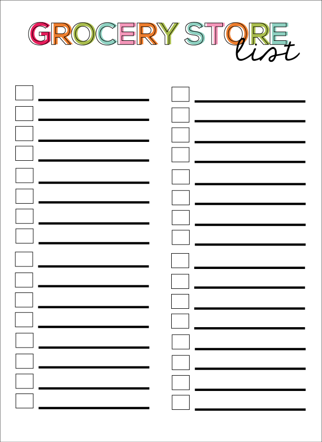 Printable Grocery Store List from Thirty Handmade Days