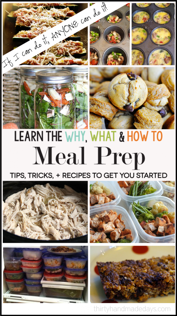 Learn the why, what and how-to's for meal prep ideas! Featuring 100 tips, tricks, recipes and more.   Thirty Handmade Days