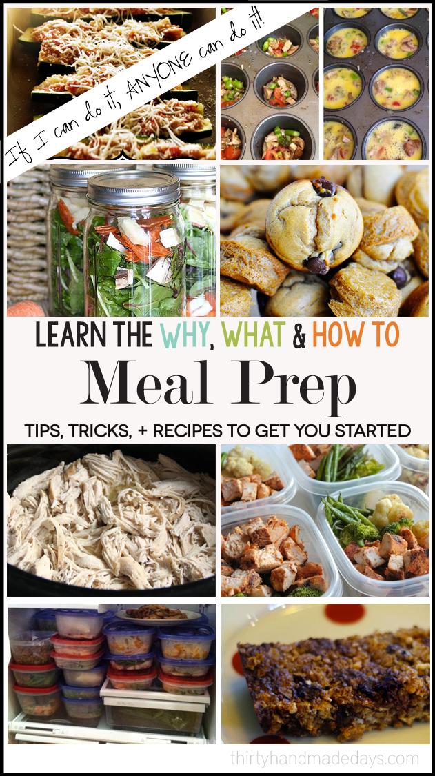 Apprenez pourquoi, quoi et comment faire pour préparer vos repas! Mettant en vedette 100 conseils, astuces, recettes et plus encore. | Trente jours faits à la main