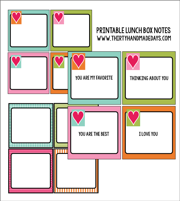Printable lunch box notes from Thirty Handmade Days