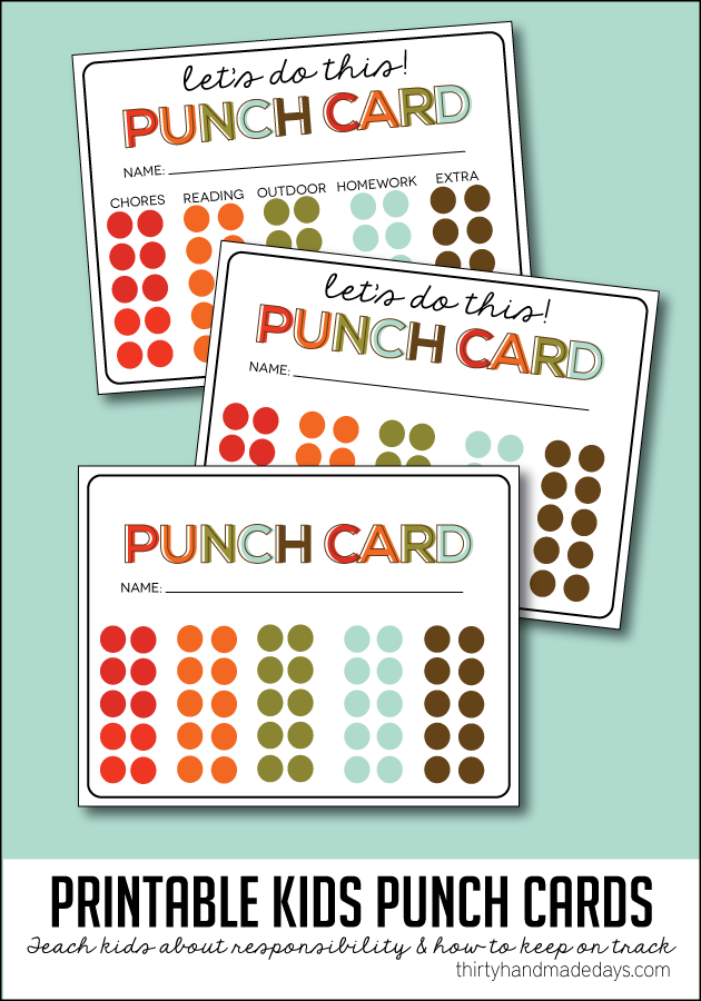 Kids Printable Punch Cards