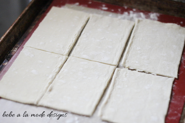 Cut Puff Pastry for Raspberry Almond Cream Cheese Danish