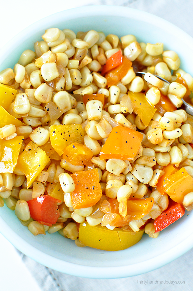 Simple healthy side dish - Peppers and Corn Medley | Thirty Handmade Days
