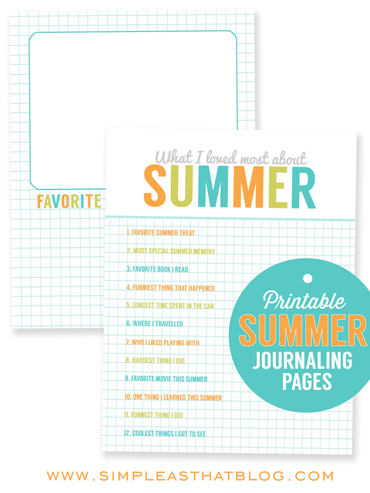 Printable Summer Journaling Pages - have your kids fill in these pages.