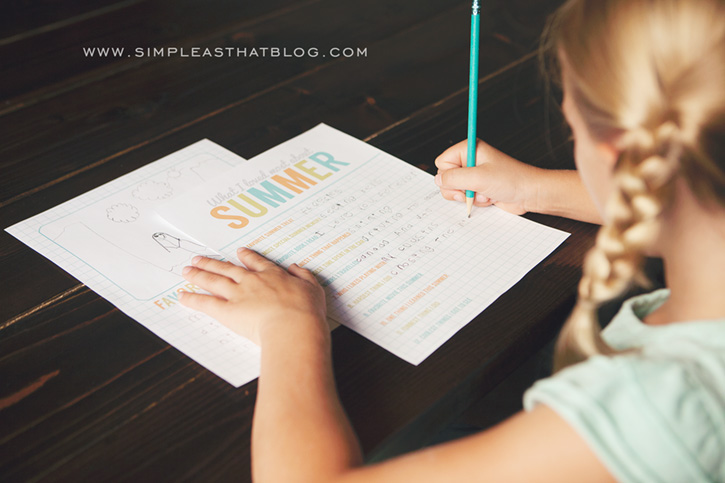 Printable Summer Journaling Pages - have your kids fill in these pages. Filling in the pages.