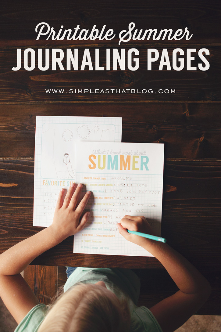 Printable Summer Journaling Pages