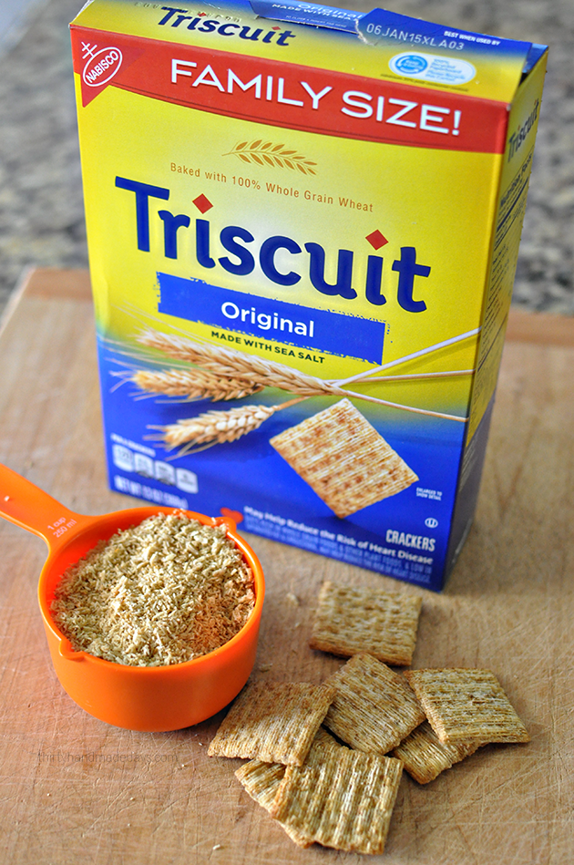 Making breadcrumbs out of Triscuit Crackers