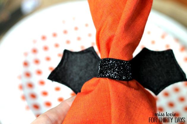 12 Velvet Bat Napkin Rings-Halloween Craft