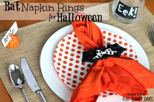 Bat Napkin Rings for Halloween-Miss Lovie for Thirty Handmade Days