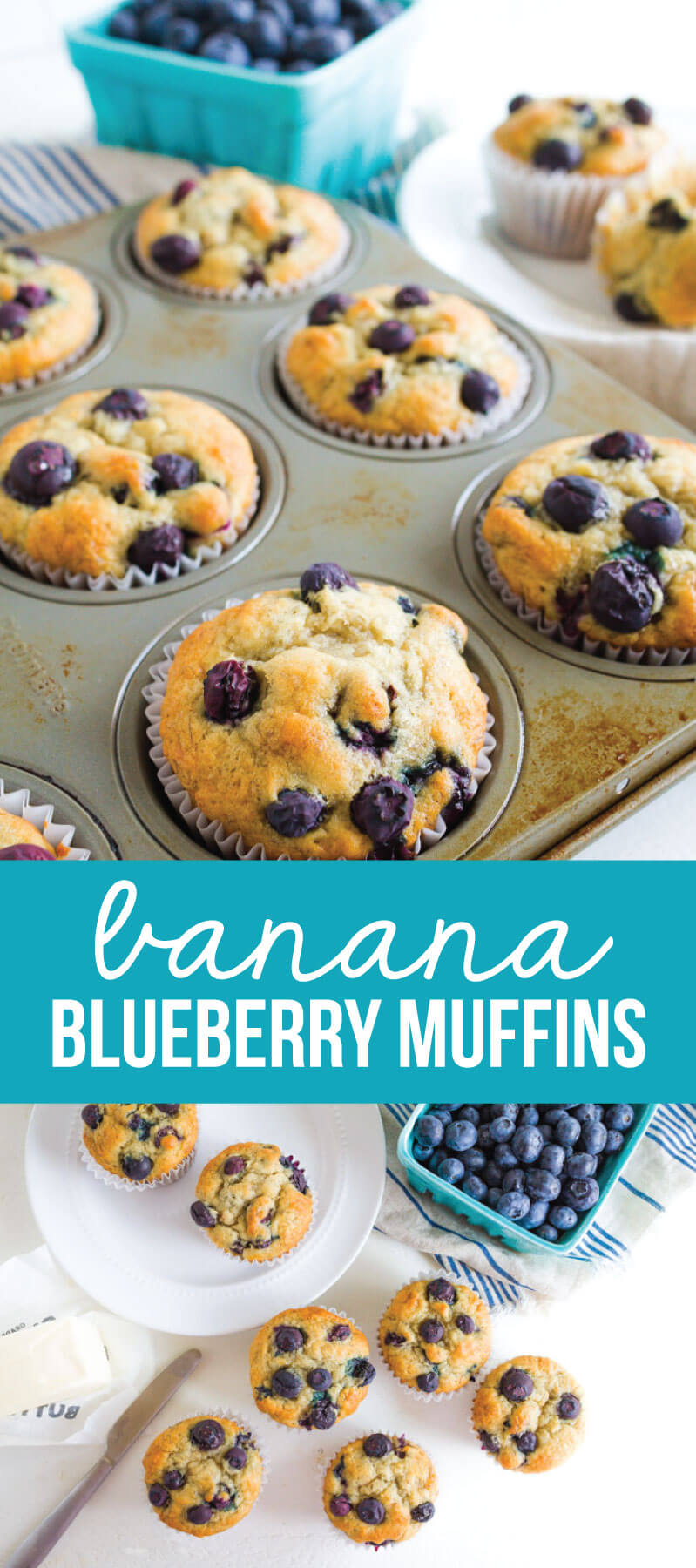 Simple to make and family friendly, these Banana Blueberry Muffins are super tasty. You'll want to make this blueberry muffin recipe over again and again via www.thirtyhandmadedays.com