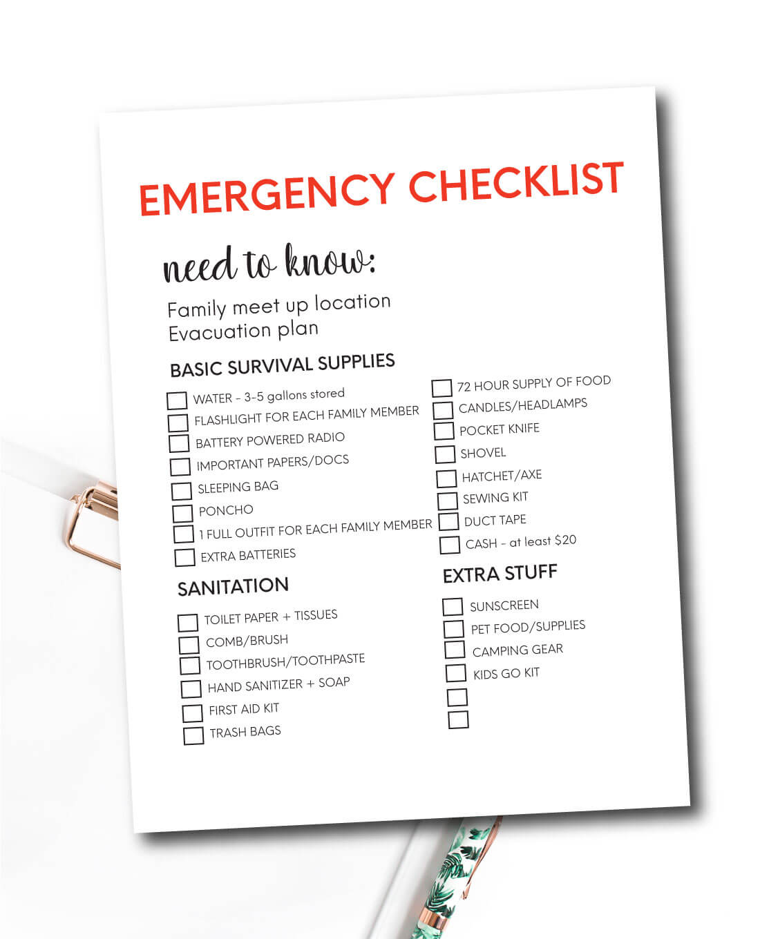 Emergency Supplies List
