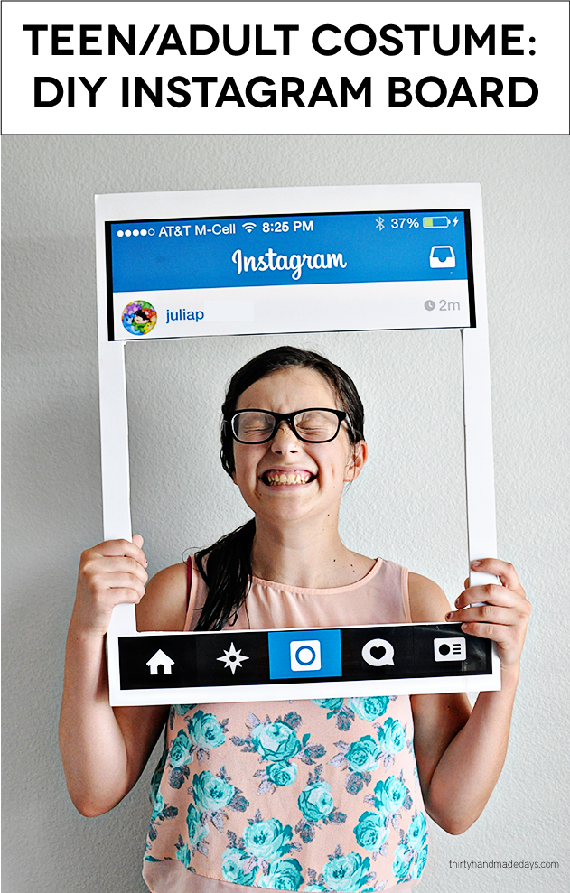 Simple and fun Halloween Costume for Teens/Adults - DIY Instagram | Thirty Handmade Days  sc 1 st  Thirty Handmade Days & Fun Teen/Adult Halloween Costume: DIY Instagram Board