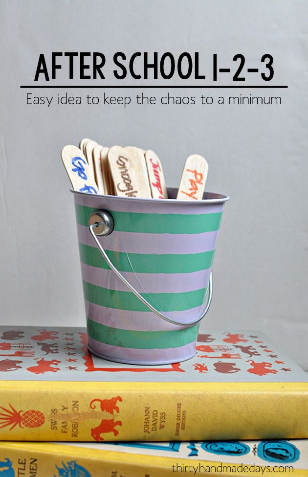 Kids activities: After school 1-2-3 : fun idea to keep the chaos to a minimum after school! | Thirty Handmade Days