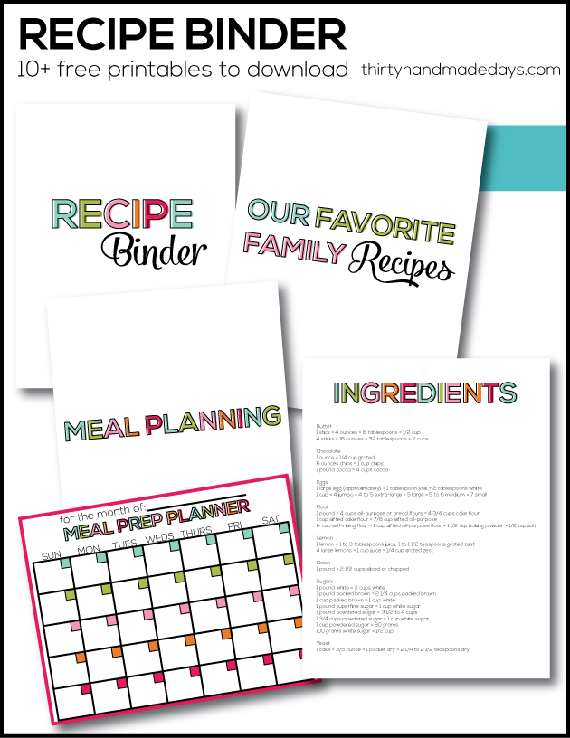 Genius image regarding free printable recipe binder
