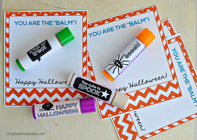 """You are the balm"" free Halloween printables - Lip Balm Labels from www.thirtyhandmadedays.com"
