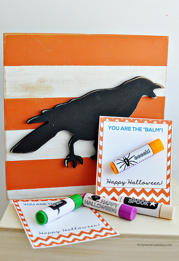 """You are the balm"" free Halloween printable tags + lip balm labels from thirtyhandmadedays.com"