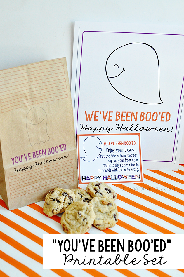 "Fun ""You've Been Boo'ed"" Printable Halloween set from thirtyhandmadedays.com"