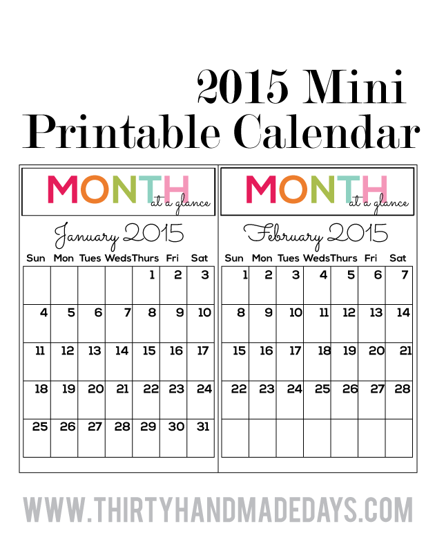 Updated Printable Mini 2015 Calendars to coordinate with binders from thirtyhandmadedays.com