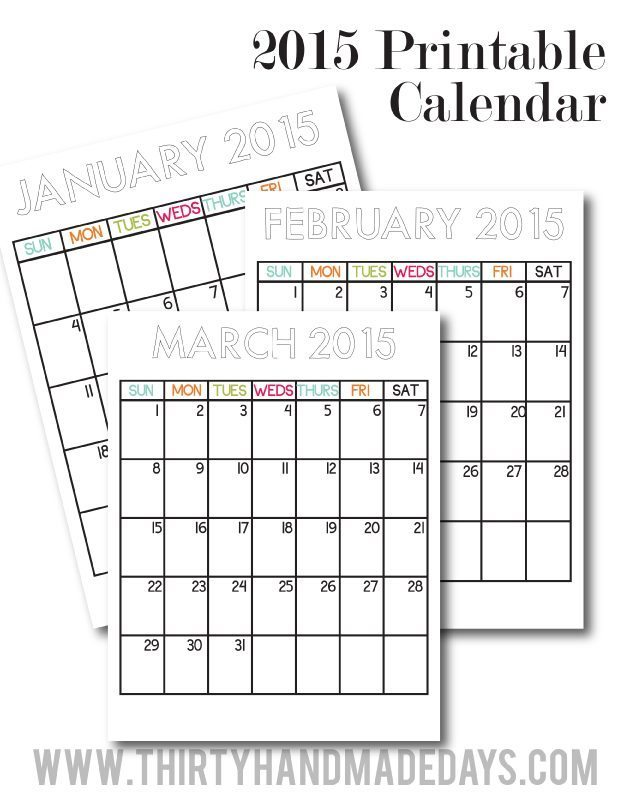 Updated 2015 Printable Calendars from Thirty Handmade Days