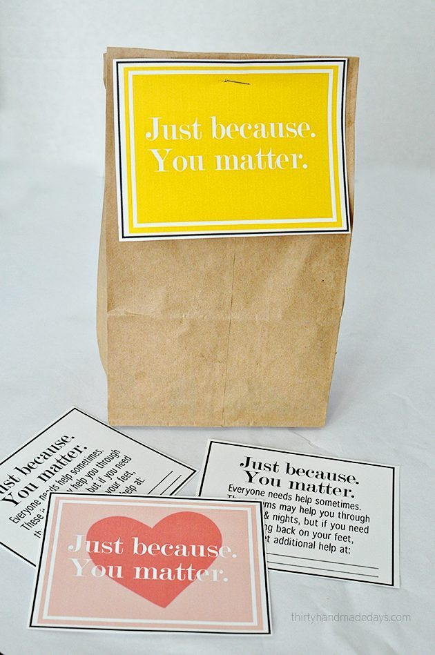 Just because printables for blessing bags from www.thirtyhandmadedays.com