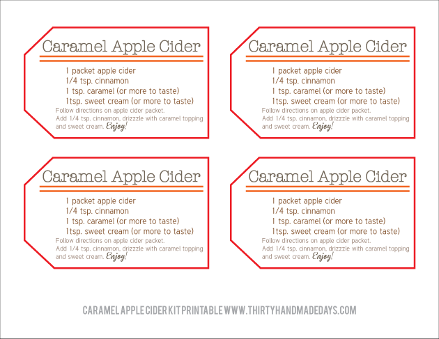 Perfect for fall - Caramel Apple Cider Kit with Printables
