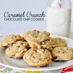 A yummy twist on a classic chocolate chip recipe - caramel and crunch make these cookies all the better. www.thirtyhandmadedays.com