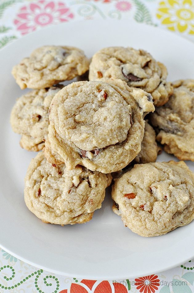 A yummy twist on a classic chocolate chip recipe - caramel and crunch make these cookies all the better.