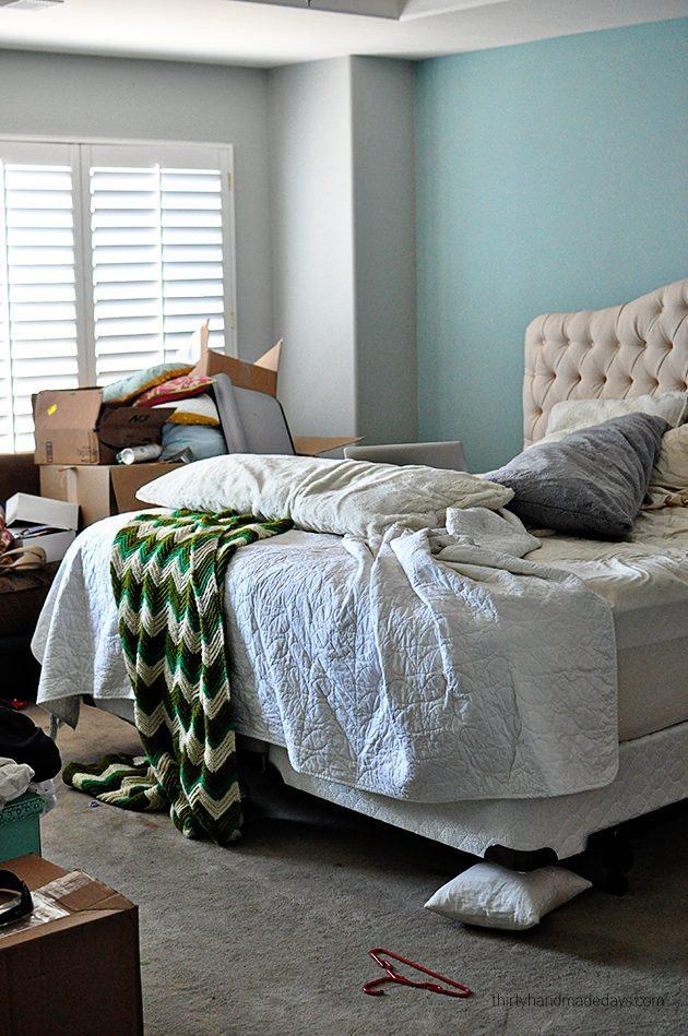 Bedroom during carpet redo
