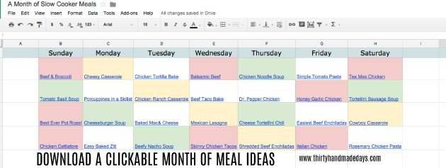 Awesome downloadable meal ideas with clickable links from www.thirtyhandmadedays.com