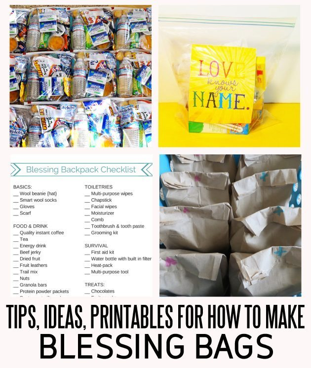 Tips, ideas and printables for how to make blessing bags www.thirtyhandmadedays.com