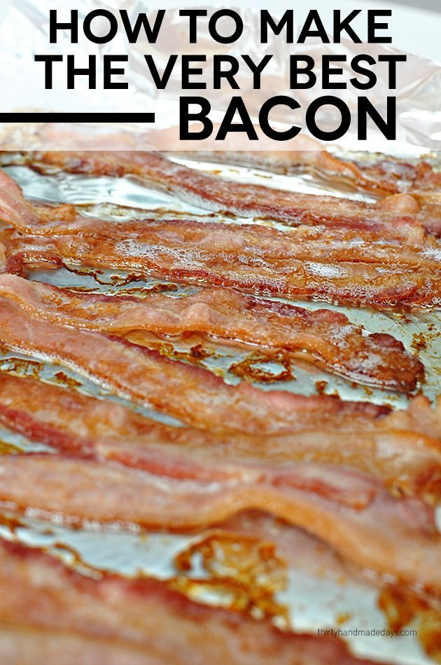 The easiest way to make bacon - in the oven! So simple and tastes great. www.thirtyhandmadedays.com