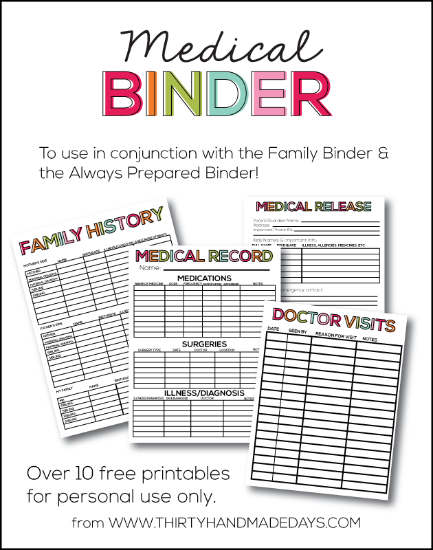 Good Super Helpful Medical Binder With 10+ Free Printables To Add To Your Family  Binder Or  Free Printable Doctor Forms