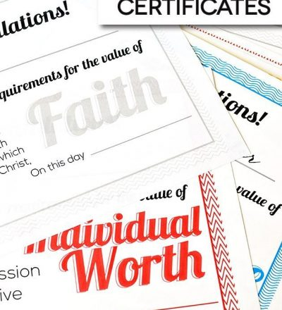 Printable Personal Progress Certificates for Young Women from www.thirttyhandmadedays.com
