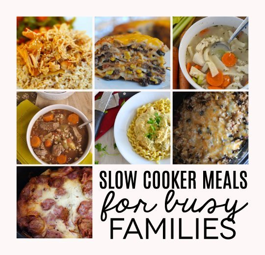 Slow Cooker Meals for busy families - a round up full of ideas to make crazy days easier. Compiled by Thirty Handmade Days