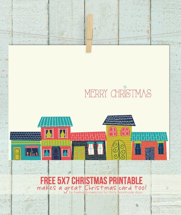 Colorful Houses Merry Christmas Printable by Live Laugh Rowe for Thirty Handmade Days