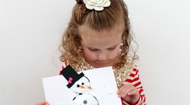 Puffy Paint Snowman Kid Craft