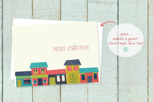 FREE 5x7 Colorful Houses Christmas Printable by Live Laugh Rowe for 30 Handmade Days!  Add to your home decor or print and use for your Christmas cards!