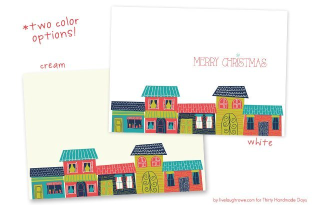 FREE 5x7 Colorful Houses Christmas Printable by Live Laugh Rowe for 30 Handmade Days! Add to your home decor or print and use for your Christmas cards! #christmas #printable