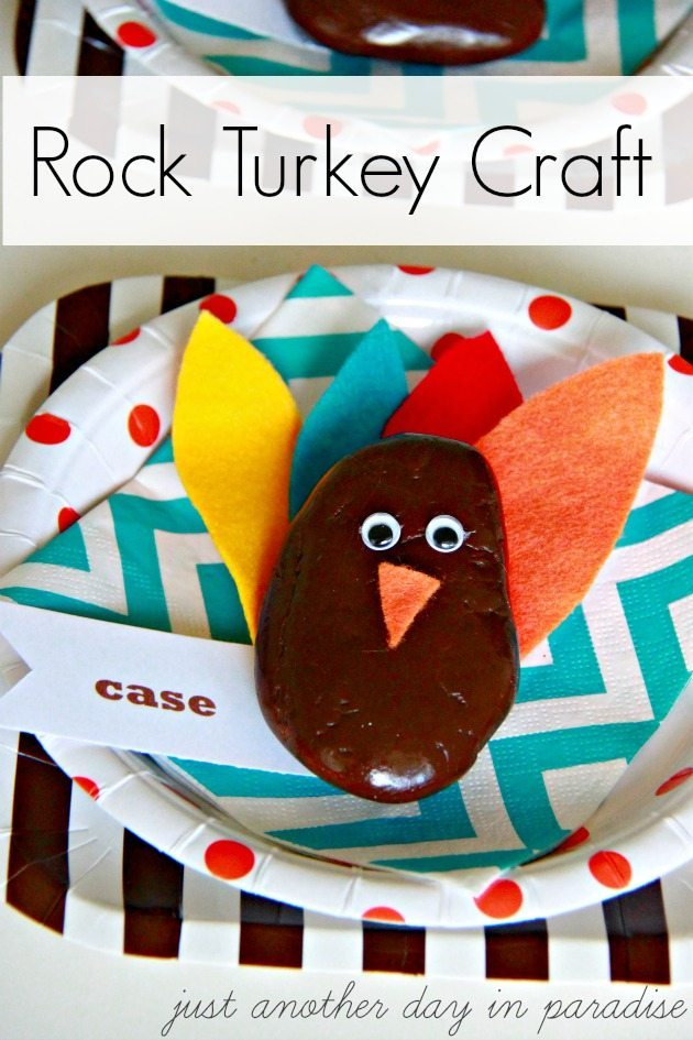 Thanksgiving Craft: Make a rock turkey for a cute place setting!