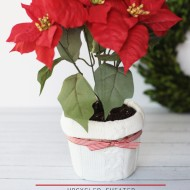 Upcycled Sweater Christmas Flower Pot Cover