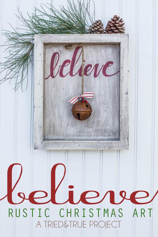 Diy Believe Rustic Christmas Art